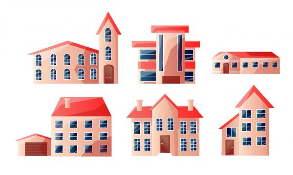 Collection set of modern beautiful urban multi-story houses with red roofs in different shapes. Isolated icons set illustration on a white background in cartoon style.